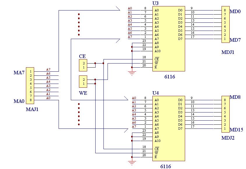 电路图见图3-1,6116的管脚分配和功能见图3-2.